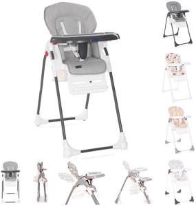 Lorelli Kinderhochstuhl Dulce Sitzhöhe verstellbar, faltbar, 5-Punkt-Gurt, Korb grau