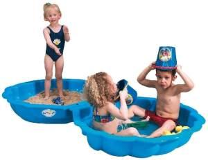 Paradiso Toys 'Sandmuschel' Sandkiste / Sandkastenschalen, 102 x 88 x 20 cm, ab 1,5 Jahren, 2-teilig, blau