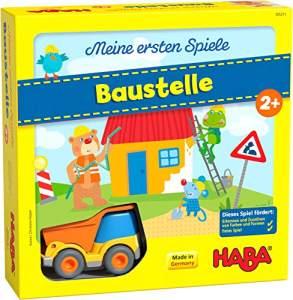 HABA 305211 - Meine ersten Spiele – Baustelle, kooperatives Memospiel mit Kullerbü-Fahrzeug und Vorlesegeschichte, Spiel ab 2 Jahren
