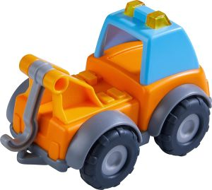 HABA 305177 - Spielzeugauto Abschleppwagen, Spielzeug-LKW für Kinder ab 2 Jahre für drinnen und draußen, Abschleppauto 13 cm mit Abschlepphaken zum Abschleppen anderer Spielzeugautos