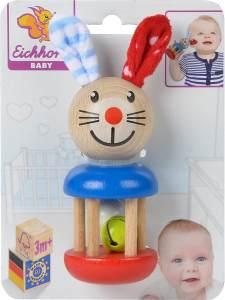 Eichhorn 100017013 - Baby Rassel mit Hasenmotiv, 5x13,5cm, FSC 100% Zertifiziertes Buchenholz, Made in Germany