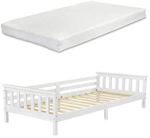 Encasa 'Nuuk' Kinderbett weiß, mit Kaltschaummatratze 90x200 cm