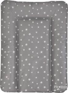 Wickelauflage HONEY | weiche Wickelunterlage | Öko-Tex 100 | abwaschbar und pflegeleicht (50 x 70 cm, Sterne grau-weiß)