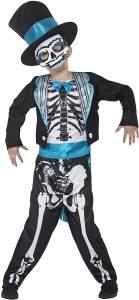 Halloween! Smiffys Tag der Toten Bräutigamskostüm, Schwarz, mit Jacket, Oberteil, Hose, Hut und Maske