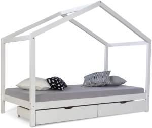 Kinderbett Hausbett 90x200 Kinderhaus Spielbett Holzbett Weiß Bettkasten