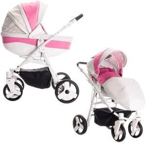 Friedrich Hugo Easy Comfort | 2 in 1 Kombi Kinderwagen | Farbe: White Pink & Leatherette