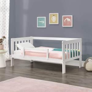 en.casa Kinderbett aus Kiefernholz mit Rausfallschutz und Lattenrost, 80x160 cm, weiß