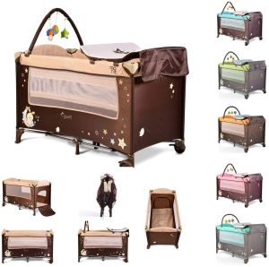 Moni Reisebett Sleepy Rollen, Wickelauflage, Matratze, Spielbogen, Seiteneingang, Farbe:beige