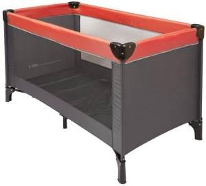 Nattou Reisebett für Babys mit Transporthülle, 120 x 60 x 75cm, 100% Polyester, Grau/Rot