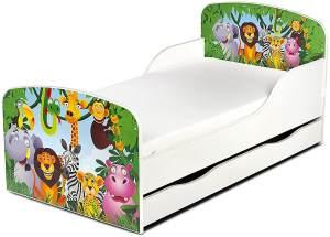 Leomark Kinderbett 70x140 cm, Animals, mit Matratze, Schublade und Lattenrost