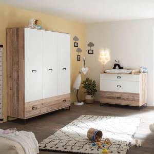 Lomado Babyzimmer Set 2tlg. ROANNE-78 in Eiche Old Style hell / weiß