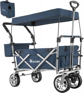 tectake 'Nico' Klappbollerwagen, Blau, inkl. abnehmbares Dach