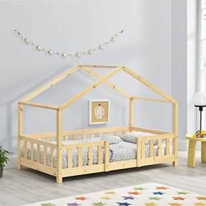 en.casa Hausbett aus Kiefernholz mit Rausfallschutz und Lattenrost 70x140 cm, natur