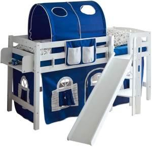 Ticaa Podestbett mit Rutsche Tino Buche Weiß - blau-weiss