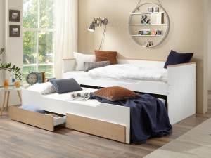 Bett Ronny 90x200 cm Funktionsbett 2 Liegeflächen Bettkasten 2 Schubladen bicolor Kinderbett Jugendbett Gästebett