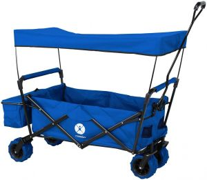 Miweba 'MB-10' Bollerwagen, Blau, inkl. Sonnendach, Hecktasche und Feststellbremse, klappbar