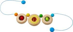 HABA 304813 - Kinderwagenkette Farbenspiel, Baby-Spielzeug aus Holz mit 2 Glöckchen, Kinderwagen-Zubehör, geeignet ab 0 Jahren