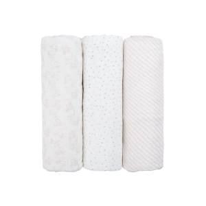 LÄSSIG Baby Pucktuch Spucktuch Muslin Mulltuch aus Bambusfaser und Baumwolle weich atmungsaktiv (3 Stk. 80 x 80 cm)/Heavenly soft Swaddle L Lela pink