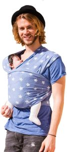 HOPPEDIZ elastisches Tragetuch für Früh- und Neugeborene, inkl. Trageanleitung, 4,60m x 0,50m, Blau mit Stern