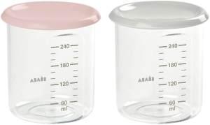 Beaba 912715 Béaba - 2er Set Maxi Portion Tritan (2x240ml – nude/grau), rosa