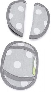 Priebes PHILIP Gurtpolster für Babyschale   praktischer Gurtschoner   waschbar bei 30 Grad   100% Baumwolle   weich & bequem   Made in EU, Design:polka grau