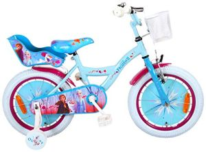 Kubbinga Kinderfahrrad Disney Frozen 2, 16 Zoll inkl. Stützräder, Puppensitz und Korb