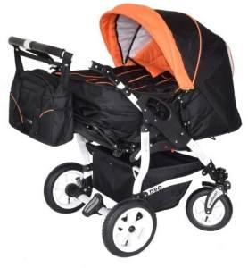 Adbor Duo 3in1 Zwillingskinderwagen mit Babyschalen - weißes Gestell, Zwillingswagen, Zwillingsbuggy Farbe Nr. 01w schwarz/orange