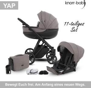 Knorr Baby Kombikinderwagen 2in1 'YAP' in Taupe, inkl. Babywanne, Sportsitz, Wickeltasche, Regenschutz