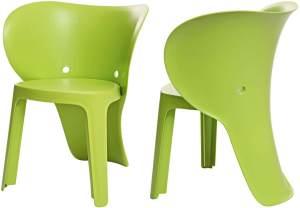 SoBuy 'Elefant' Kinderstühle mit Lehne, 2er-Set grün