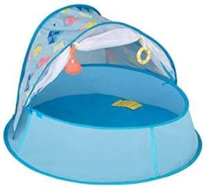 Babymoov A035213 Babymoov Aquani Planschbecken & Reisebett, LSF 50+, blau, 98 x 90 x 85 cm