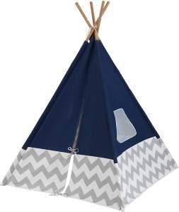 KidKraft 228 Deluxe Play Tipi Zelt für Kinder, 162cm hoch, für drinnen und draußen - dunkelblau und grau
