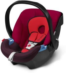 CYBEX Silver Babyschale Aton, Inkl. Neugeboreneneinlage, Ab Geburt bis ca. 18 Monate, Max. 13 kg, Rumba Red