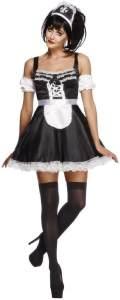 Fever Kollektion French Maid Kostüm mit Kleid Haarreifen und Ärmeln , Large