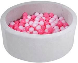 Knorrtoys 68172 - Bällebad Soft - Grey - 300 Bälle Soft pink