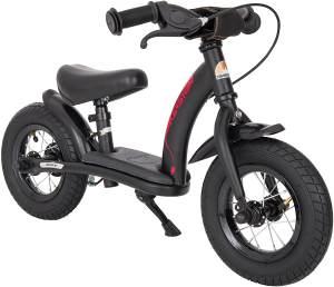 BIKESTAR '10 Zoll Classic Lauflernrad', für Kinder ab 88 cm Körpergröße, bis 30 kg belastbar, höhenverstellbar, inkl. Bremse, schwarz