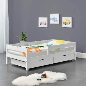 en.casa Kinderbett aus Kiefernholz mit Rausfallschutz, Schubladen und Lattenrost, 90x200 cm, weiß