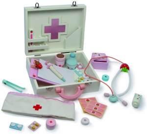 small foot 6113 Holz, mit Fieberthermometer, Stethoskop, Schwesternhaube, Rollenspielzeug ab 3 Jahren Arztkoffer Isabel