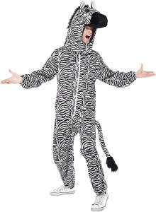 Smiffys Herren Zebra Kostüm, Bodysuit mit Kopfteil, One Size, 43816