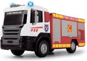 Dickie Toys Scania Feuerwehrauto, Löschzug, Feuerwehr, 2 verschiedene Modelle, Modell A: Öffnen des Seitenpanels, Modell B: Leiter ausziehbar, Licht & Sound, inkl. Batterien, 17 cm, ab 3 Jahren