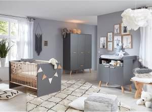 Trendteam 'Mats' 3-tlg. Babyzimmer-Set, grau, aus Bett 70x140, 3-trg. Kleiderschrank und Wickelkommode