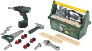 Theo Klein 8520 Bosch Werkzeug-Box I Mit Hammer, Säge, Rollgabelschlüssel und vielem mehr I Inkl. batteriebetriebenem Akkuschrauber mit Licht und Sound I Maße: 31 cm x 16,5 cm x 12,5 cm