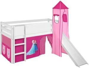 Lilokids 'Jelle' Spielbett 90 x 190 cm, Eiskönigin Rosa, Kiefer massiv, mit Turm, Rutsche und Vorhang