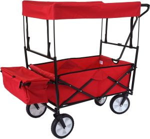 Faltbarer Bollerwagen HWC-E38, Handwagen Gartenwagen Transportwagen klappbar ~ mit Dach/Hecktasche rot