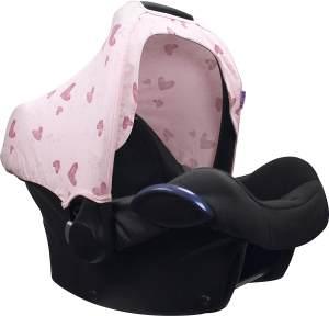 Sonnenverdeck für Babyschalen / UPF 50+ / Pink Herz