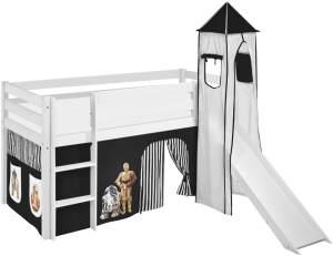 Lilokids 'Jelle' Spielbett 90 x 200 cm, Star Wars Schwarz, Kiefer massiv, mit Turm, Rutsche und Vorhang