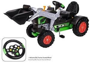 BIG Jim Turbo, Trettraktor mit Soundlenkrad, inklusive BIG Tractor Sound Wheel, Schaufel bis zu 3 kg belastbar, Traktor für Kinder ab 3 Jahren