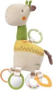 FEHN 059069 Activity-Giraffe mit Ring / Motorikspielzeug zum Aufhängen mit spannenden Anhängern zum Greifen und Geräusche erzeugen - für Babys und Kleinkinder ab 0+ Monaten