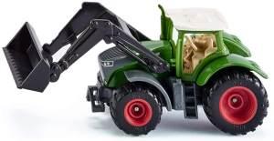 SIKU 1393, Fendt 1050 Vario Traktor mit Frontlader, Grün/Schwarz, Beweglicher Frontlader, Abnehmbare Kabine, Reifen aus Gummi