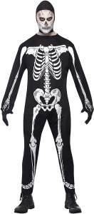 Halloween! Smiffys Einteilerkostüm Skelett, Schwarz, mit Kapuze und Handschuhen