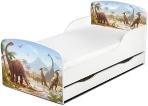 Leomark Kinderbett 70x140 cm, Dinosaurier Jurassic, mit Matratze und Lattenrost